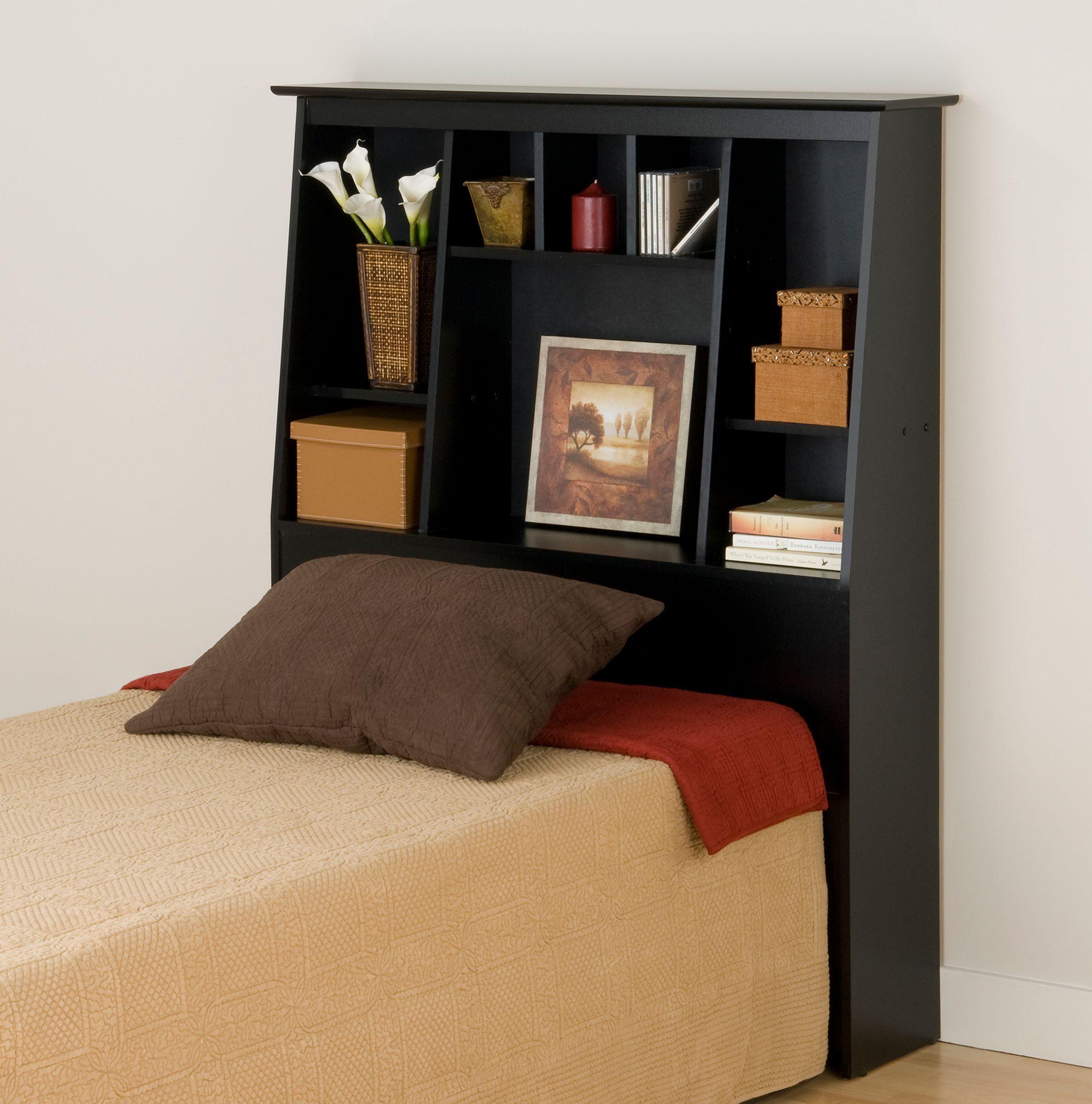 Incroyable Prepac Sonoma Black Tall Twin Storage Headboard
