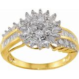 1 cttw Round and Baguette Diamond Cluster Ring in 10k Yellow Gold at mygofer.com