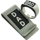 Stainless Steel Dad Ring and Money Clip Set at mygofer.com