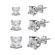 Cubic Zirconia 4, 5, and 6 MM Princess Stud Earring Set in Sterling Silver at Sears.com
