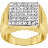 1 cttw Mens Round Diamond Ring in 10K Yellow Gold at mygofer.com