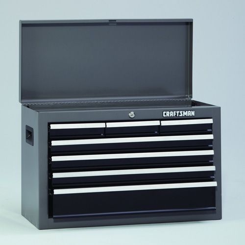 "Craftsman 26"""" Wide 7-Drawer Basic Top Chest - Platinum/Black"