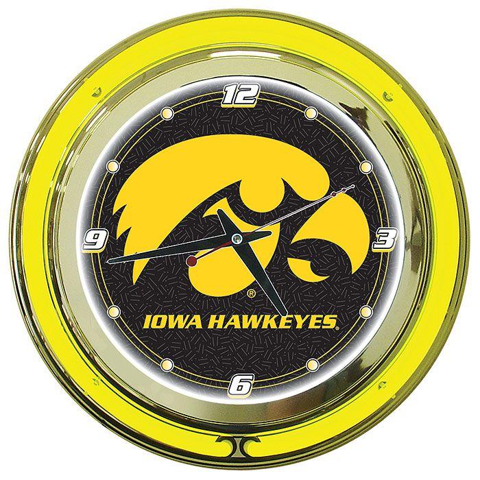 Trademark University of Iowa Neon Clock - 14 inch Diameter