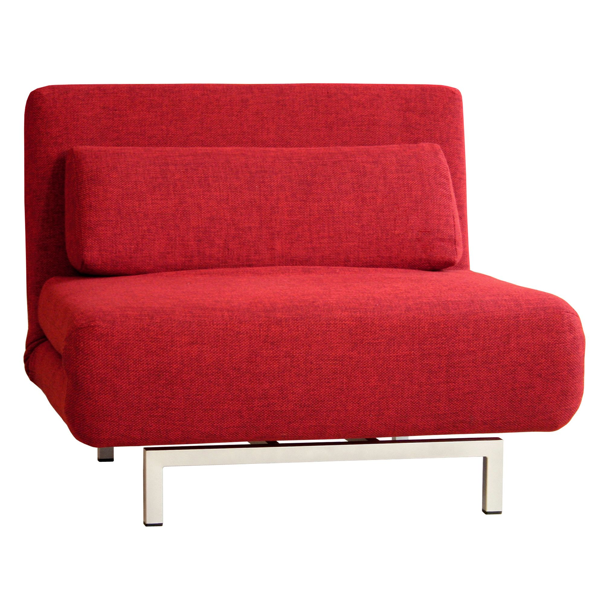 Baxton Studio 30 H Convertible Chair Day Bed with Accent Pillow - Red
