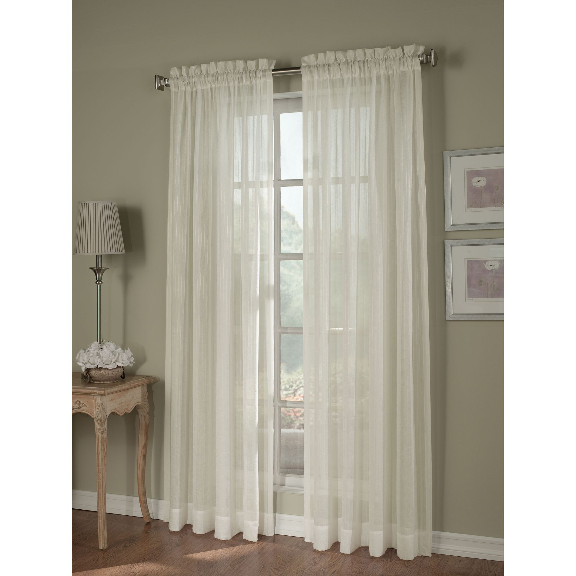 Ivory Crinkle Stripe Sheer Window Panel