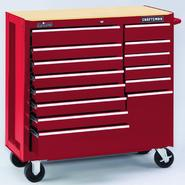 "Craftsman 40"" Wide 14-Drawer Ball-Bearing GRIPLATCH® Tool Cart - Red at Craftsman.com"