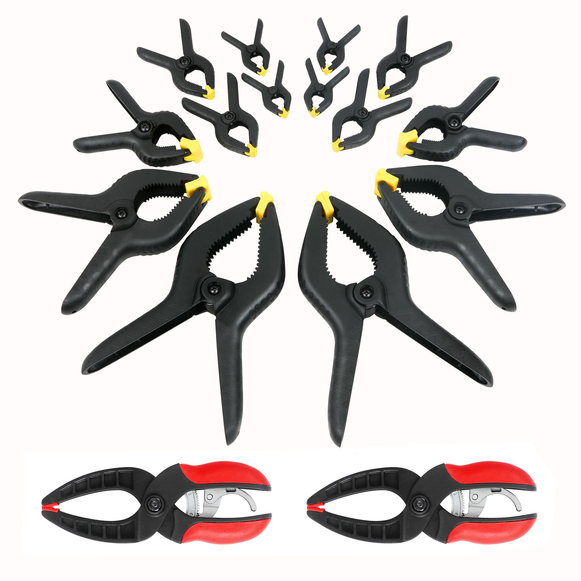14 pc. Spring Clamp Set with 2 pc. Ratcheting