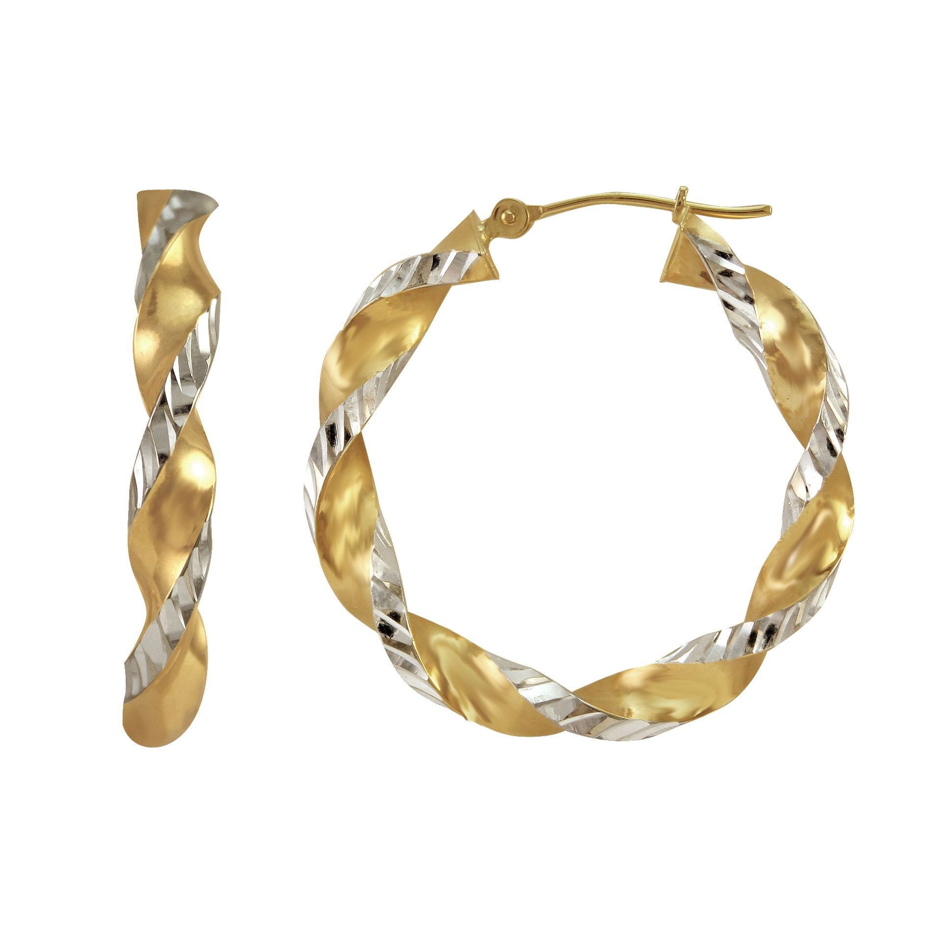 10kt Gold and Sterling Silver Hoop Earrings