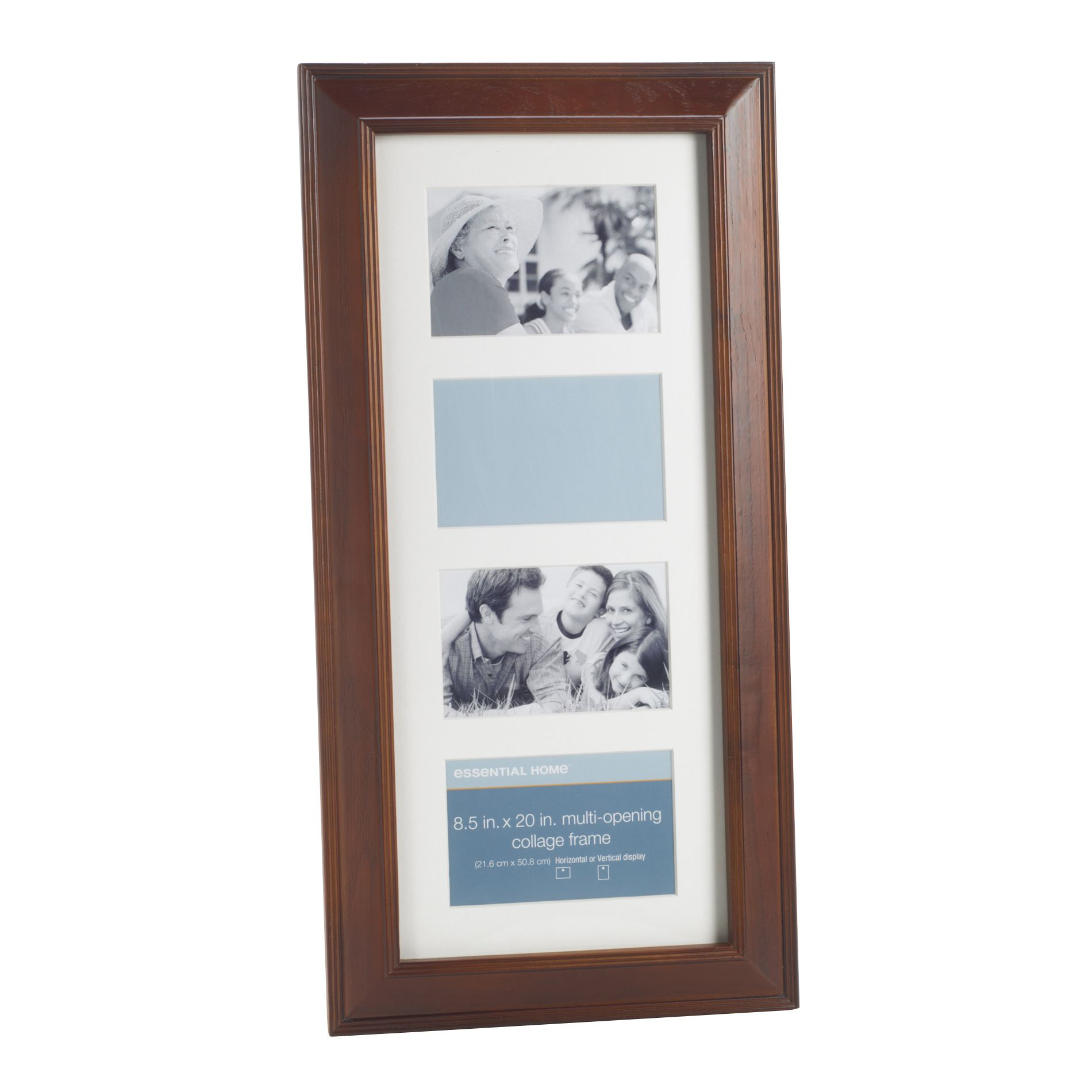 essential home walnut angled 8 5 x 20 inch multi opening collage picture frame. Black Bedroom Furniture Sets. Home Design Ideas