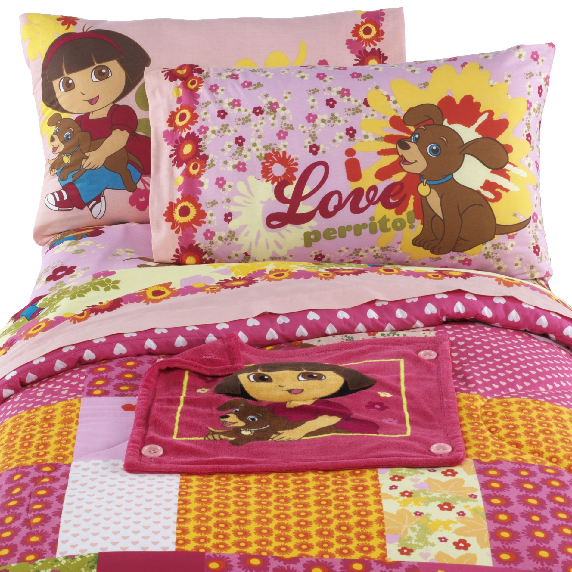 Dora And Puppy Twin/Full Comforter With Removable Blankie