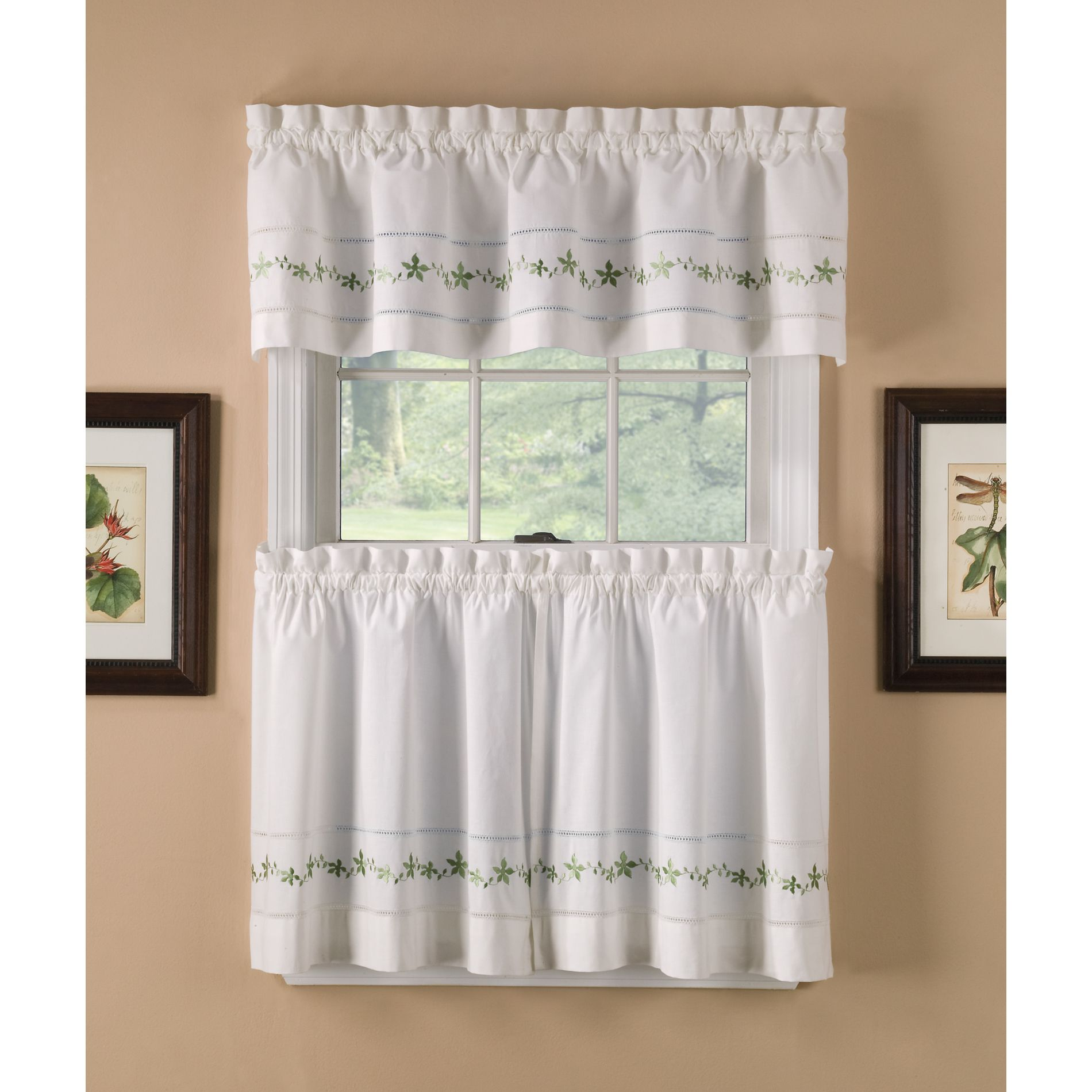 Sage Lace Embroidered Floral Valance