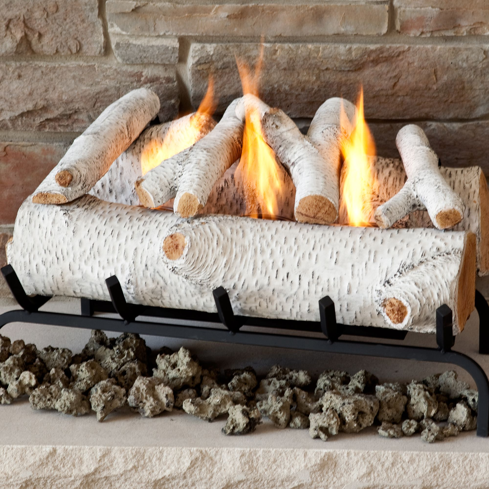 "Real Flame 24"" Convert-to-Gel Log Set in Birch                                                                       at mygofer.com"