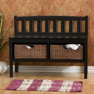 "Southern Enterprises, Inc. 28-1/2""H x 36""W x 14-1/4""D Bench with Storage Basket - Black at Kmart.com"