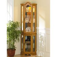 Southern Enterprises, Inc. Lighted Mirrored Decorative Arch Top Curio Cabinet - Golden Oak Finish at Kmart.com