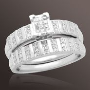 1/4 cttw Round and Princess-cut Diamond Bridal Set in Sterling Silver at Sears.com
