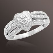 Tradition Diamond 1/6 ct. t.w. Round Diamond Heart Engagement Ring in Sterling Silver at Sears.com