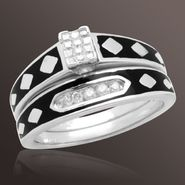 1/7 ct. t.w. Round and Princess-cut Diamond and Enamel Bridal Set at Sears.com