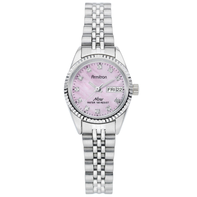 Armitron Ladies Swarovski Crystal Accented Pink Dial Silver-Tone Bracelet Watch, clear