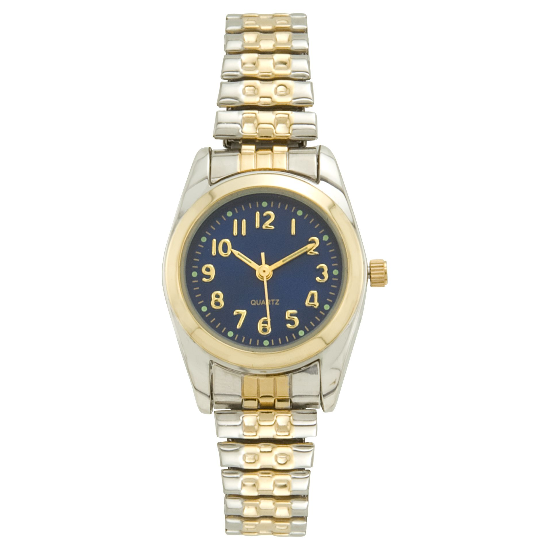 Ladies Watch with Round Two-tone Case, Blue