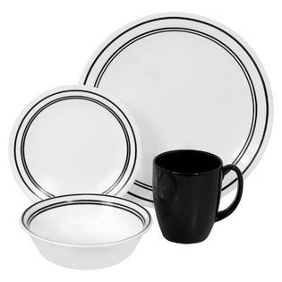 Corelle Livingware Classic Cafe Black 16 Piece Dinnerware Set
