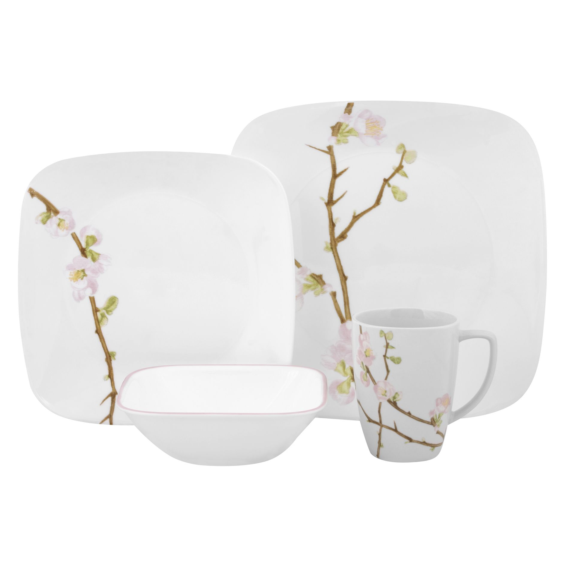 Square Cherry Blossom 16 Piece Dinnerware Set