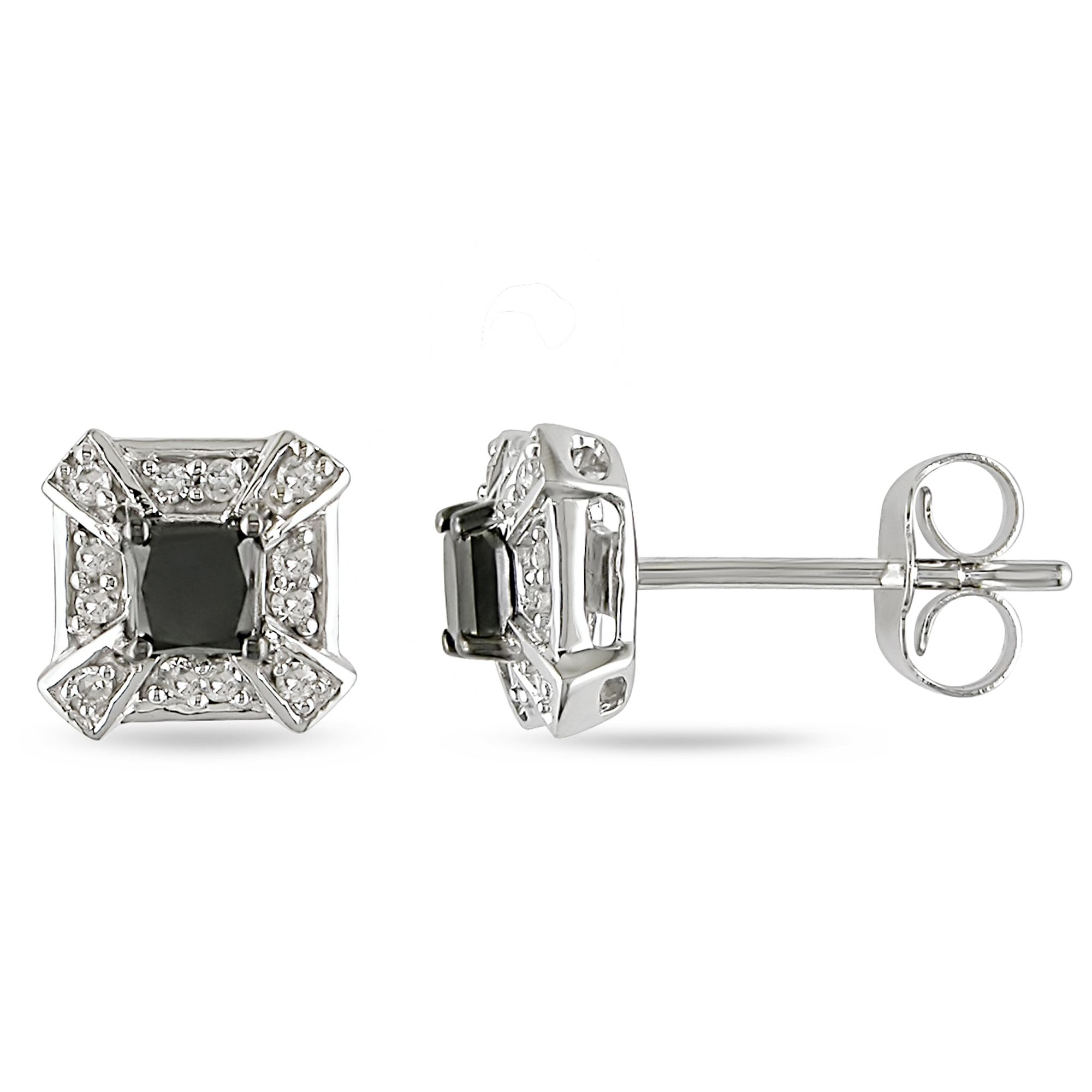 1/2 cttw Black and White Diamond Earrings in