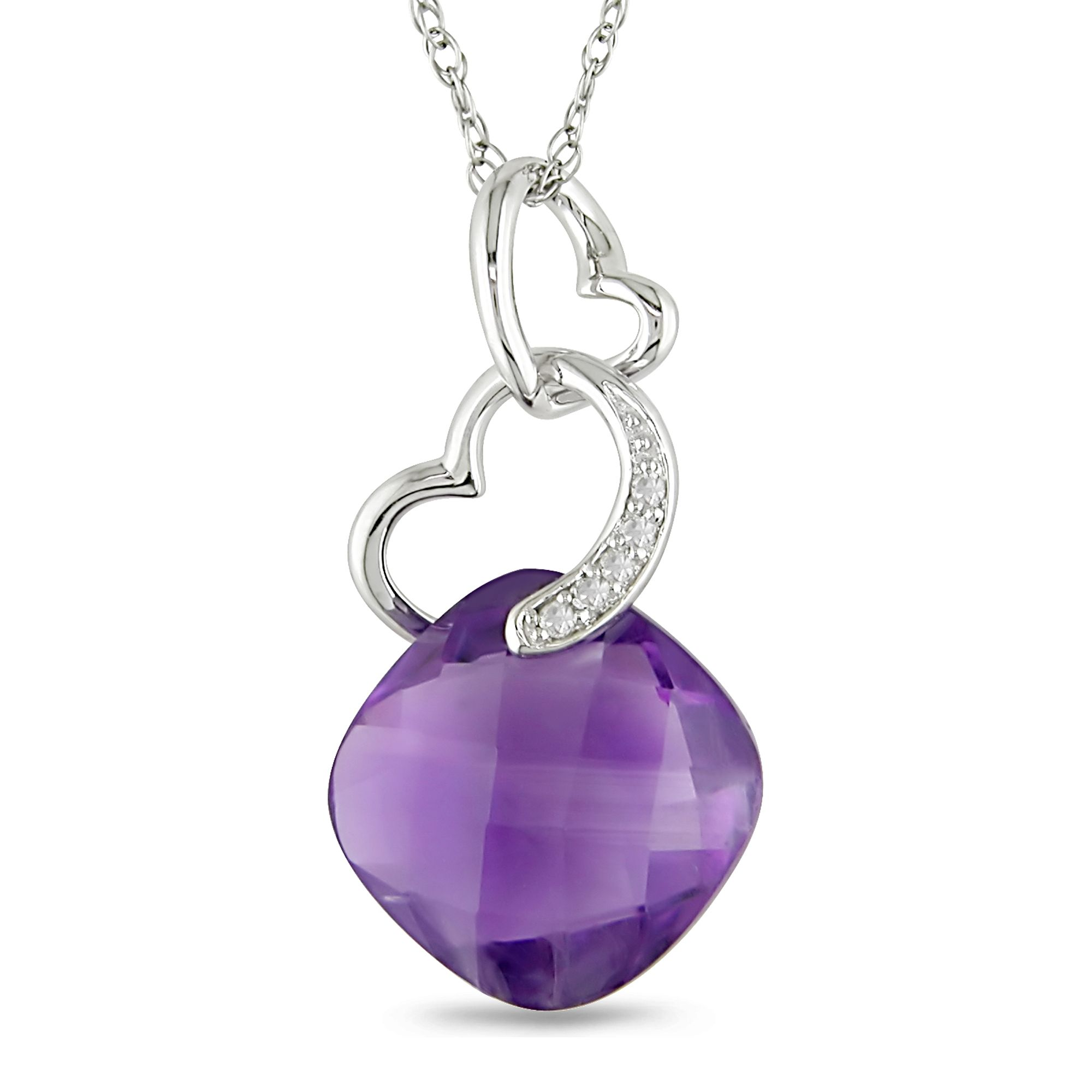 12x12mm Amethyst and Diamond Accent Pendant