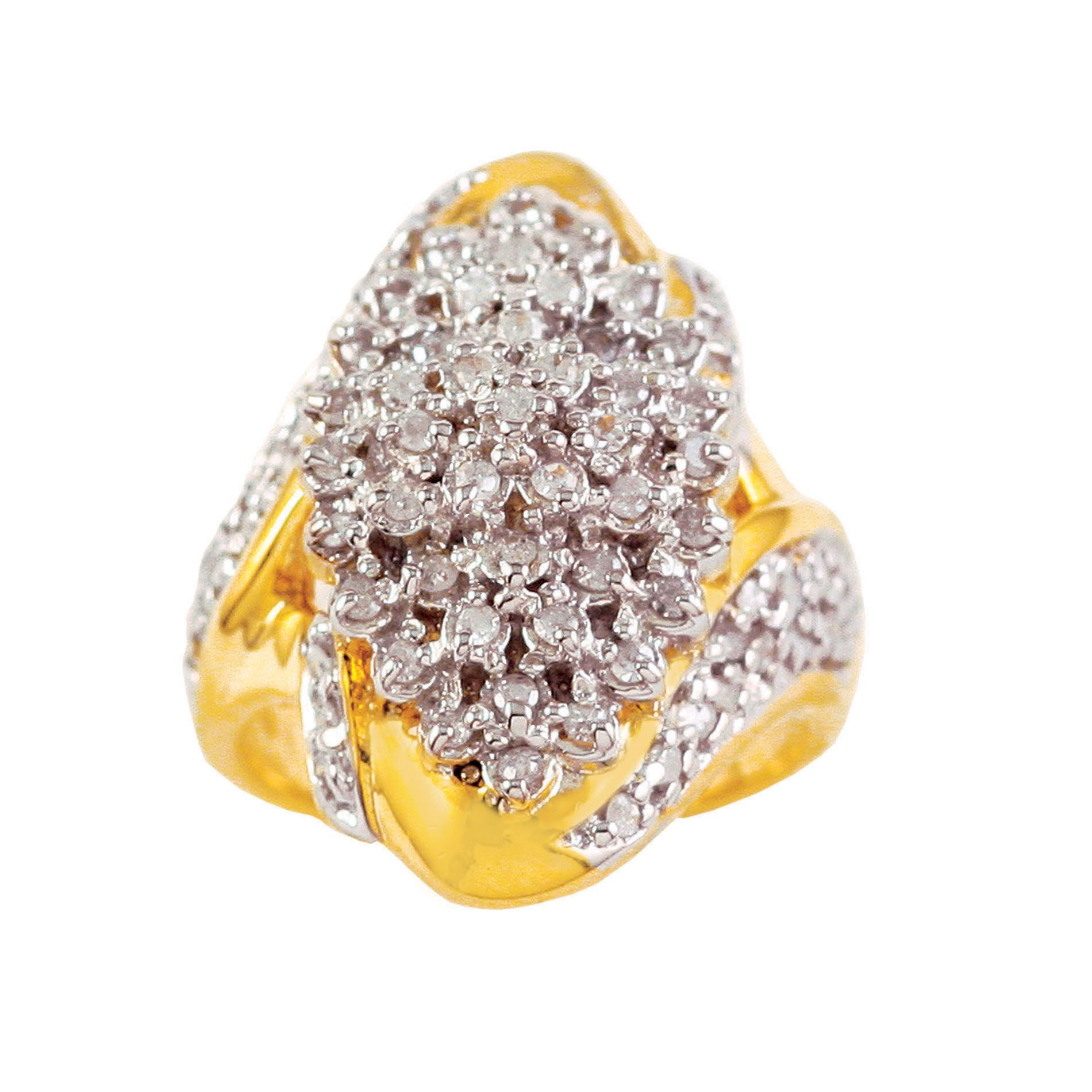 1 cttw Diamond Ring in 18K Gold over Sterling Silver