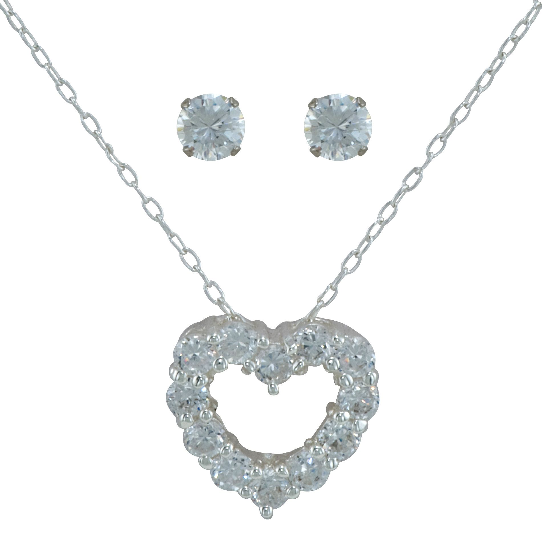 Sterling Silver and Cubic Zirconia Heart Pendant & Earring Set                                                                   at mygofer.com