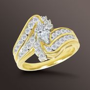 Tradition Diamond 1 cttw Marquise and Round Diamond Swirl Engagement Ring in 14K Yellow Gol at Sears.com