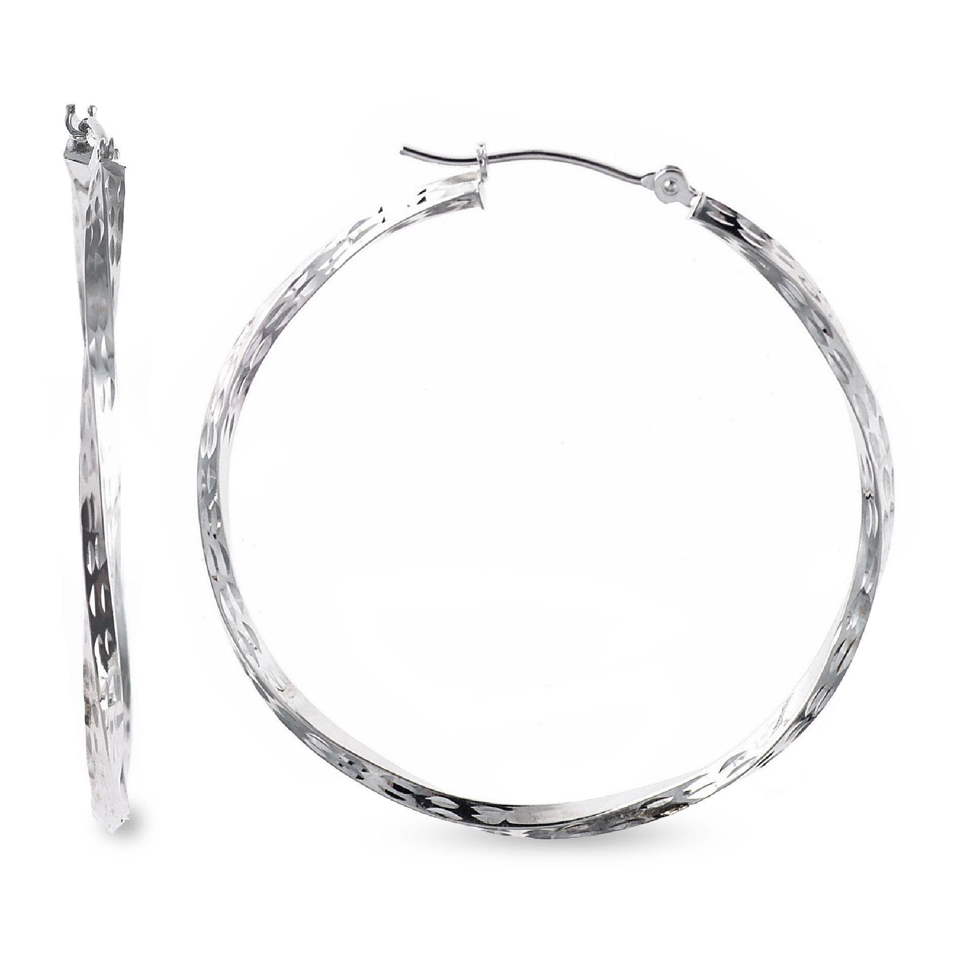 10K White Gold Dimond Cut Twist Hoop Earrings