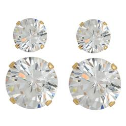 Cubic Zirconia Round Stud Earring Duo in Yellow Gold over Sterling Silver at Kmart.com