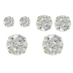 Cubic Zirconia Round Stud Earring Trio in Yellow Gold over Sterling Silver at Kmart.com