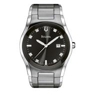 Bulova Mens Calendar Date Watch w/Diamond Accent Black Dial & ST Expansion Band at Sears.com