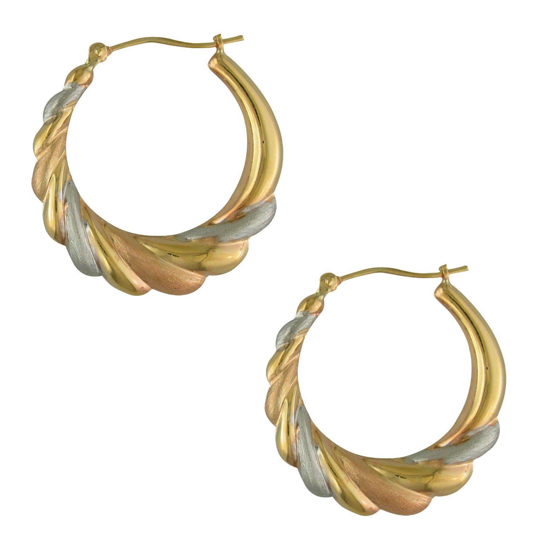 14K & Sterling silver Tri Color Twist Hoop
