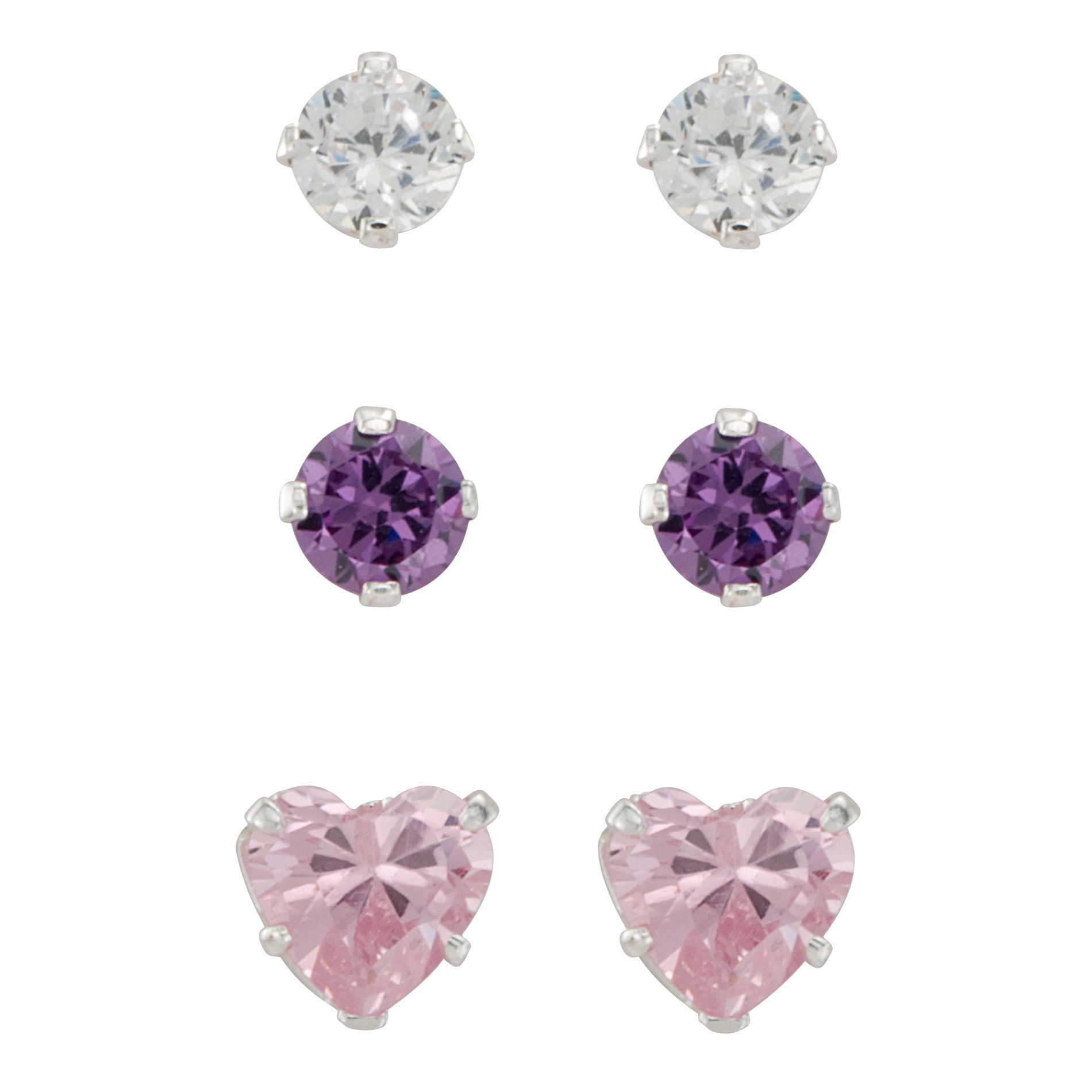 Girls 3-Pair Cubic Zirconia