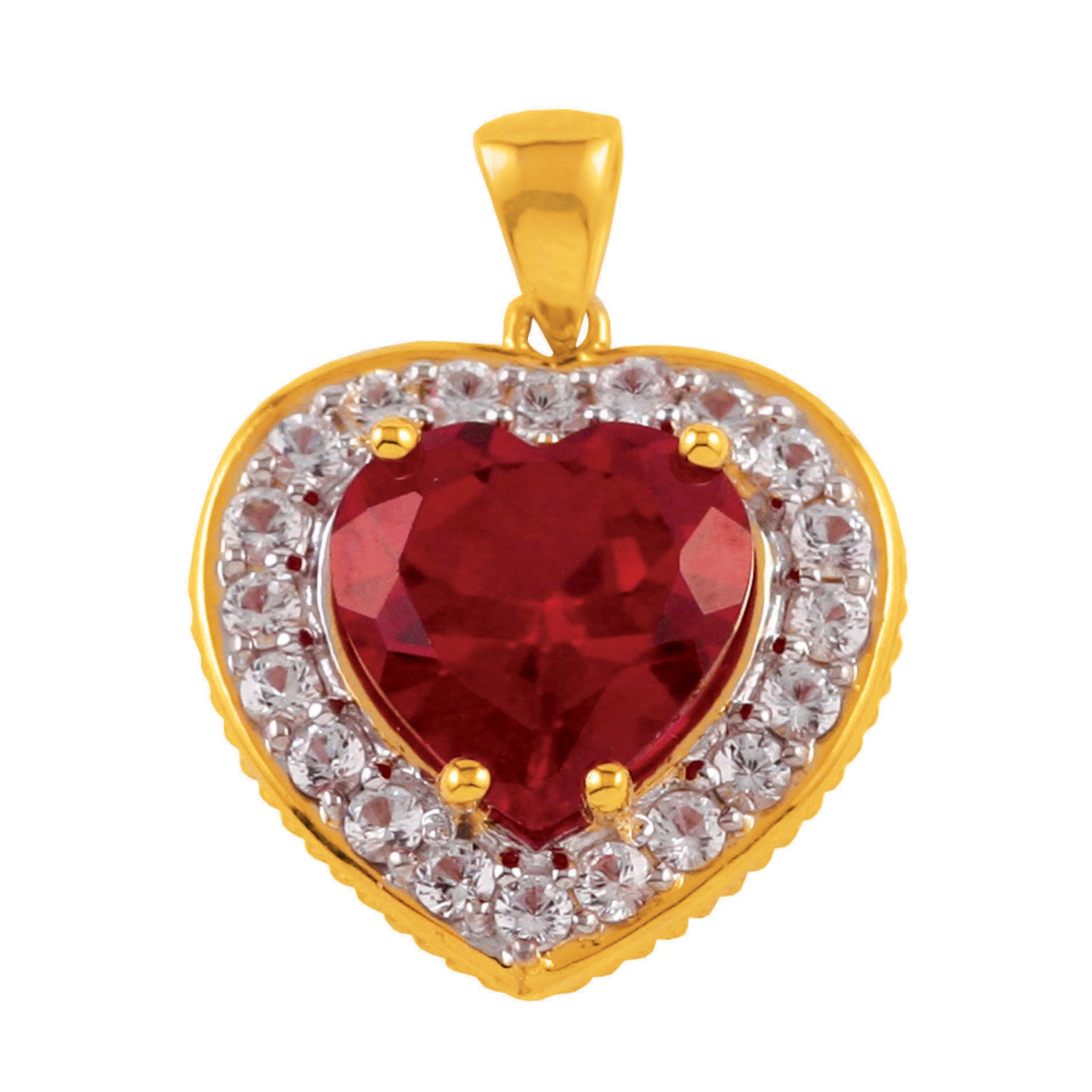 Lab Created Ruby and White Sapphire Heart Pendant in 18K Gold Over Silver