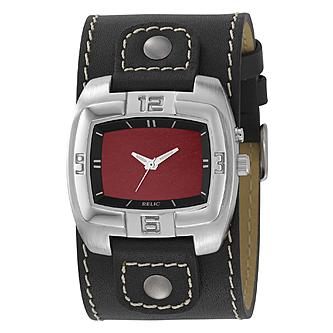 relic mens watch square silvertone case red dial and leather relic mens watch square silvertone case red dial and leather cuff band