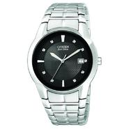 Citizen Mens Eco-Drive Calendar Date Watch w/Black Dial and Silvertone Expansion Band at Sears.com