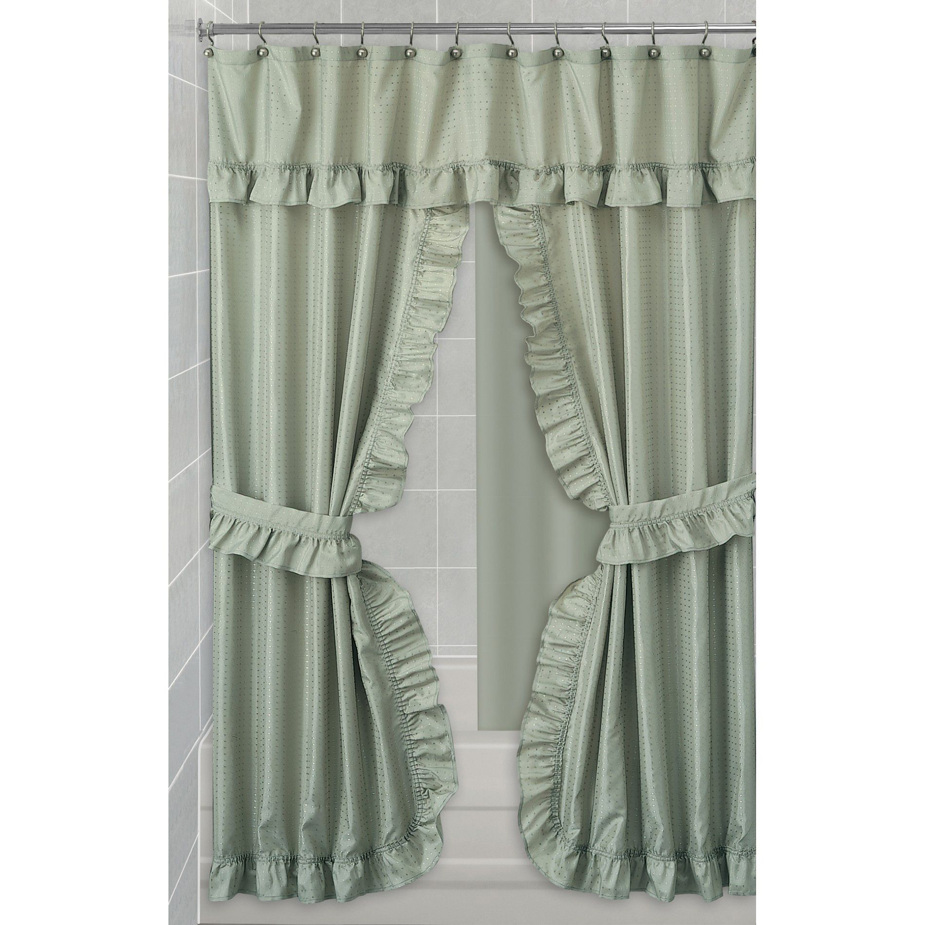 Essential Home Shower Curtain Swag Dobby Fabric
