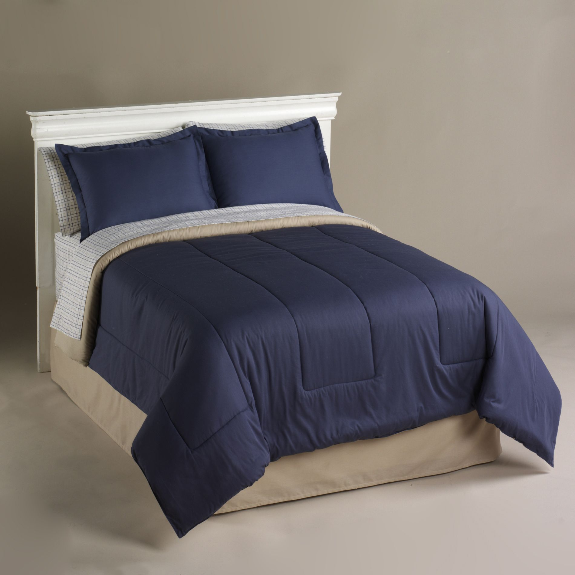 Cannon  Khaki and Navy Plaid Sheet Set