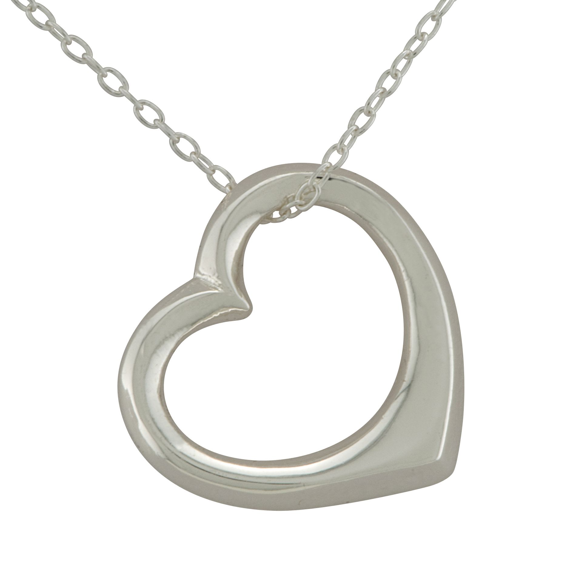 Floating Heart Pendant in Sterling Silver