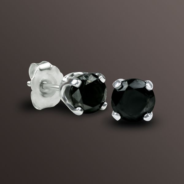 1/5 cttw Round Black Diamond Stud Earrings In