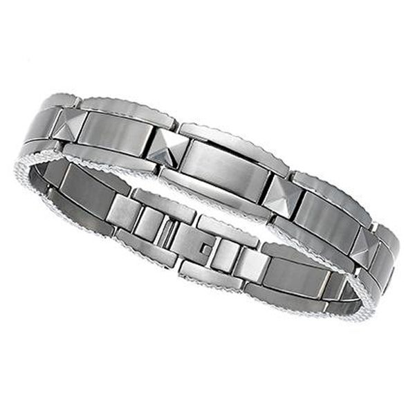 Men's Stainless Steel Textured Bracelet