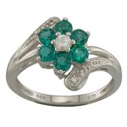 Lab Created Emerald and Sapphire Ring in Sterling Silver at Sears.com