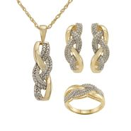 1/4 cttw Diamond 3-Piece Twist Set in 14K Gold Over Sterling Silv at Sears.com