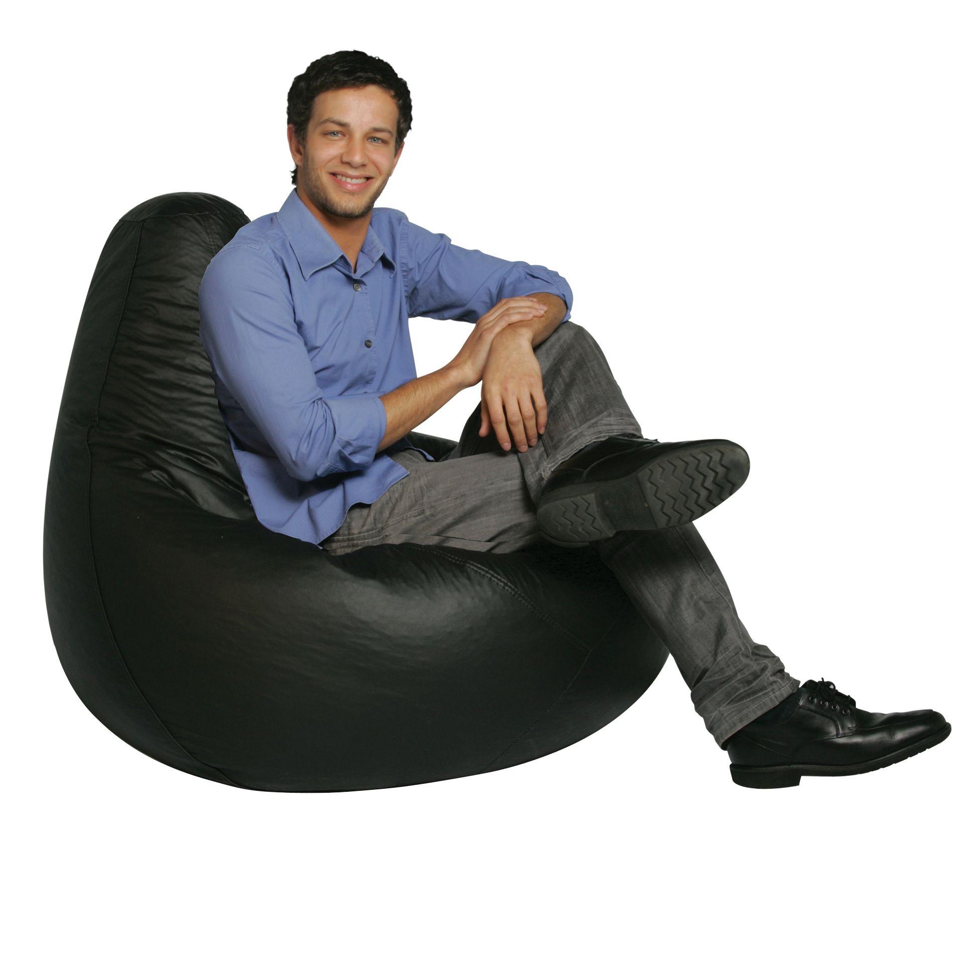Bean Bag Factory Adult Black Vinyl Bean Bag Chair Skin