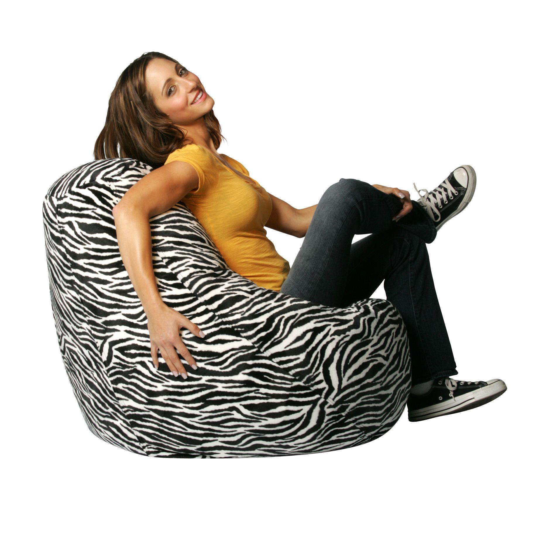 Bean Bag Factory Zebra Print Velvet Chair Cover
