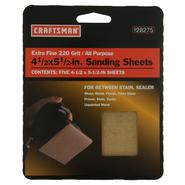Craftsman 4.5 in. x 5.5 in. A/O Cut Sheet - All Purpose-Handy Pack - 220 Extra Fine Grit at Craftsman.com