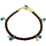 Gold over Sterling Silver, Evil Eye Crystal, Bead and Brown Cord Bracelet at Sears.com